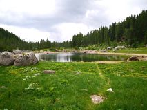Beautiful lake in slovenian mountains close to Triglas stock image