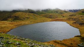Beautiful Lake in Snowdonia National Park, Wales, United Kingdom. Beautiful, calm and tranquil lake with mystic and moody skies at the back – captured royalty free stock photography