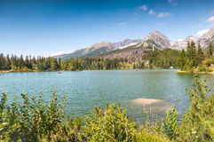 Beautiful Lake Strbske Pleso in High Tatras of Slovakia Royalty Free Stock Photo