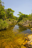 Beautiful lake in sunny day formed by waterfalls - Serra da Canastra National Park - Minas Gerais, Brazil.  stock image
