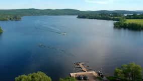 A beautiful lake on a sunny, summer day stock footage