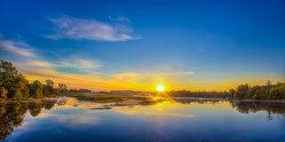 Beautiful Lake On Sunrise Stock Photo