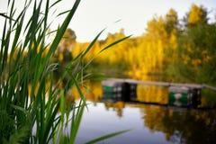 Beautiful lake sunset with handmade mooring Royalty Free Stock Photography