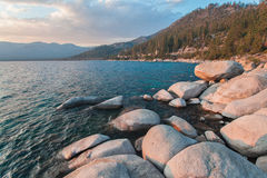 Beautiful Lake Tahoe California. Lake Tahoe is a large freshwater lake in the Sierra Nevada of the United States Royalty Free Stock Images