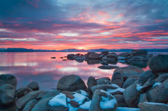 Beautiful Lake Tahoe California. Lake Tahoe is a large freshwater lake in the Sierra Nevada of the United States Stock Image