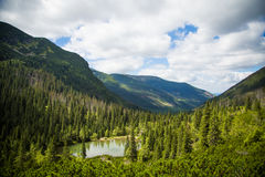 A beautiful lake in Tatry mountains, Slovakia. Mountain landscape in a sunny day stock images