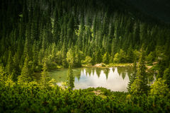 A beautiful lake in Tatry mountains, Slovakia. Mountain landscape in a sunny day stock image