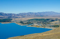 Beautiful Lake Tekapo view from the summit of Mount John Stock Image