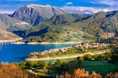 Beautiful lake Turano and village Colle di tora. Rieti province,. Beautiful Colle di Tora,panoramic view,Rieti province,Lazio,Italy Royalty Free Stock Photo