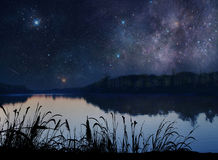 Beautiful Lake under the stars Stock Photography