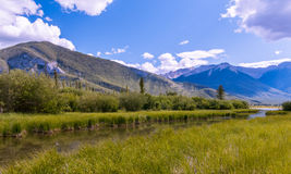 Beautiful Lake Vermilion in the mountains of Banff National Park. Royalty Free Stock Images