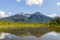 Beautiful Lake Vermilion in the mountains of Banff National Park. Stock Photos