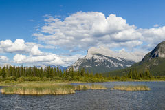 Beautiful Lake Vermilion in the mountains of Banff National Park. Mountains and lakes. The Canadian province of Alberta. Concept of active tourism and Royalty Free Stock Image
