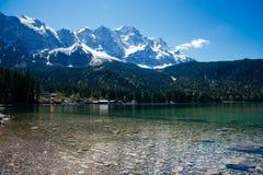 Beautiful lake view to eibsee and zugspitze, bavarian landmark Royalty Free Stock Photo