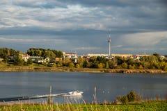 Beautiful lake view in Vilnius stock image