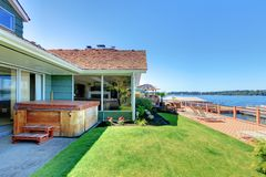Beautiful lake waterfront property with dock. Royalty Free Stock Image
