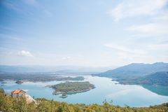 Beautiful lakes in the Balkans. Photo taken during a trip to the Balkans showing a beautiful landscape of lakes and a small old house royalty free stock images