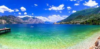 Beautiful lakes of Italy - scenic Lago di Garda, view of Malcesi Stock Photo