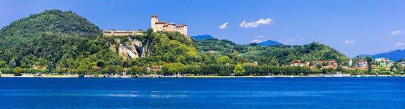 Scenic Lago Maggiore, view of Rocca di Angera royalty free stock photos