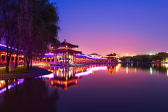 The beautiful lakeside scenery night xian Royalty Free Stock Images