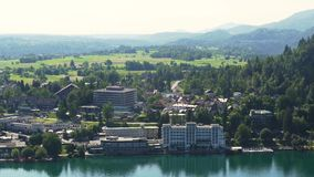 Beautiful lakeside town Bled in Slovenia, popular tourist resort, amazing nature. Stock footage stock footage