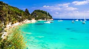 Beautiful turquoise beaches of Greece - Lakka in Paxos. Ionian i Royalty Free Stock Image