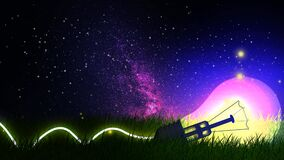 Beautiful lamp in the ground against night sky with stars, digital art style, night fantasy, loop animation background.