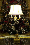 Beautiful lamp lighting christmas tree hotel lobby Stock Image