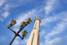 Beautiful lamp post & minaret of Al Fateh Mosque Royalty Free Stock Images