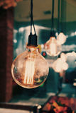 Beautiful lamps on ceiling in restaurant.-vintage filter. Stock Photography