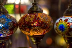 beautiful lamps made with colored crystals Royalty Free Stock Photography