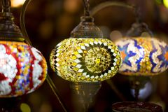 beautiful lamps made with colored crystals Stock Photo
