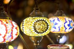 beautiful lamps made with colored crystals Stock Photography