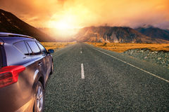 Beautiful land scape of asphalt highways perspective to sun set Stock Photos