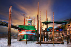 Beautiful land scape of  thai local scene tradition fishery boat Royalty Free Stock Photo