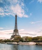 Beautiful landmark eiffel tower on seine river in paris Stock Images