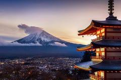 Beautiful landmark of Fuji mountain and Chureito Pagoda at sunset, Japan.  stock photo