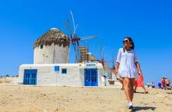 Beautiful landmark of Mykonos with tourists Stock Images