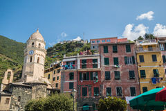 The Beautiful Lands of Cinque Terre. Magical European Village overlooking the sea Stock Images