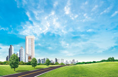 Beautiful landscape. And skyscraper in city Royalty Free Stock Photos