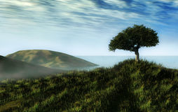 Beautiful landscape. A beautiful one tree hill generated by computer Royalty Free Stock Photos