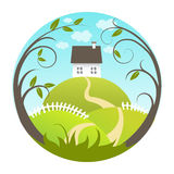 Beautiful landscape. With house and green hills Stock Image