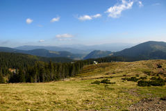Beautiful landscape. In green Carpatian mountains with hills Royalty Free Stock Photo