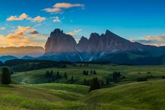 Beautiful landscape of Alpe di siusi in Dolomite, Italy in the morning. Beautiful landscape of Alpe di siusi - Seiser alm in Dolomite, Italy in the morning stock images