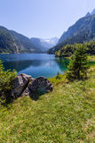 Beautiful landscape of alpine lake with crystal clear green water and mountains in background, Gosausee, Austria Royalty Free Stock Photos