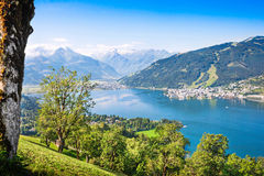 Beautiful landscape with Alps and mountain lake in Zell am See, Austria Royalty Free Stock Photos