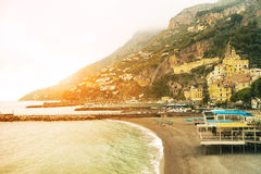 Beautiful landscape of amalfi coast mediterranean sea south ital Royalty Free Stock Images