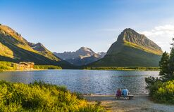 Free Beautiful Landscape At Swiftcurrent Lake  When Sunrise In Many Glacier Area ,Montana`s Glacier National Park,Montana,usa Stock Image - 182196631