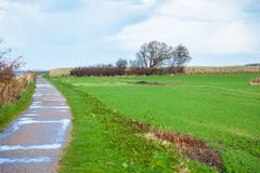 Beautiful landscape in autum baltic see green field blue sky Stock Photography