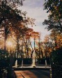 Beautiful landscape in autumn park, fountain, yellow colours, clear sky and sunshine. Nice season. Sunny warm day. Scenery royalty free stock photo
